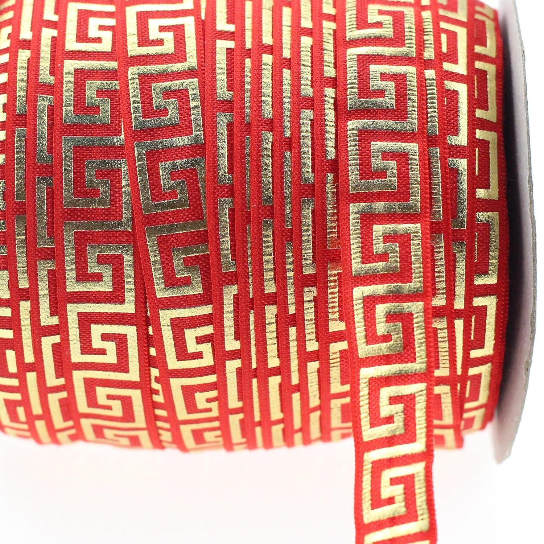 Midi nastro elasticizzato Gold Old Greek Border Meander stampato elastico con risvolto 5/20, 3cm/16mm x 9, 1m confezione 9.14meters-handmade capelli fascia del legame Ponytail Sewing supplies Purple Midi Ribbon