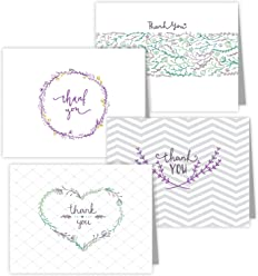 "One Jade Lane - Floral Medley, Designer Thank You Cards - Heavy Stock - 4 Designs - Set of 24 Folded Cards & Our""Unique Fine Cornered Envelopes""."