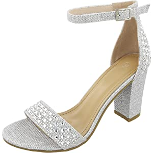 be3f126e610 Cambridge Select Women s Open Toe Single Band Glitter Crystal Rhinestone Chunky  Block Heel Sandal