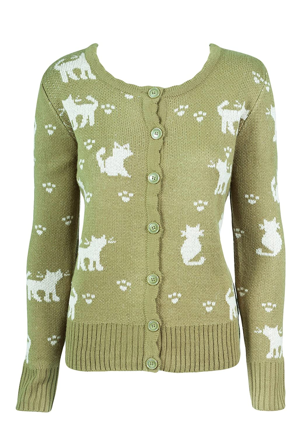 Sidecca Kitty and Paws Knit Button Down Cardigan