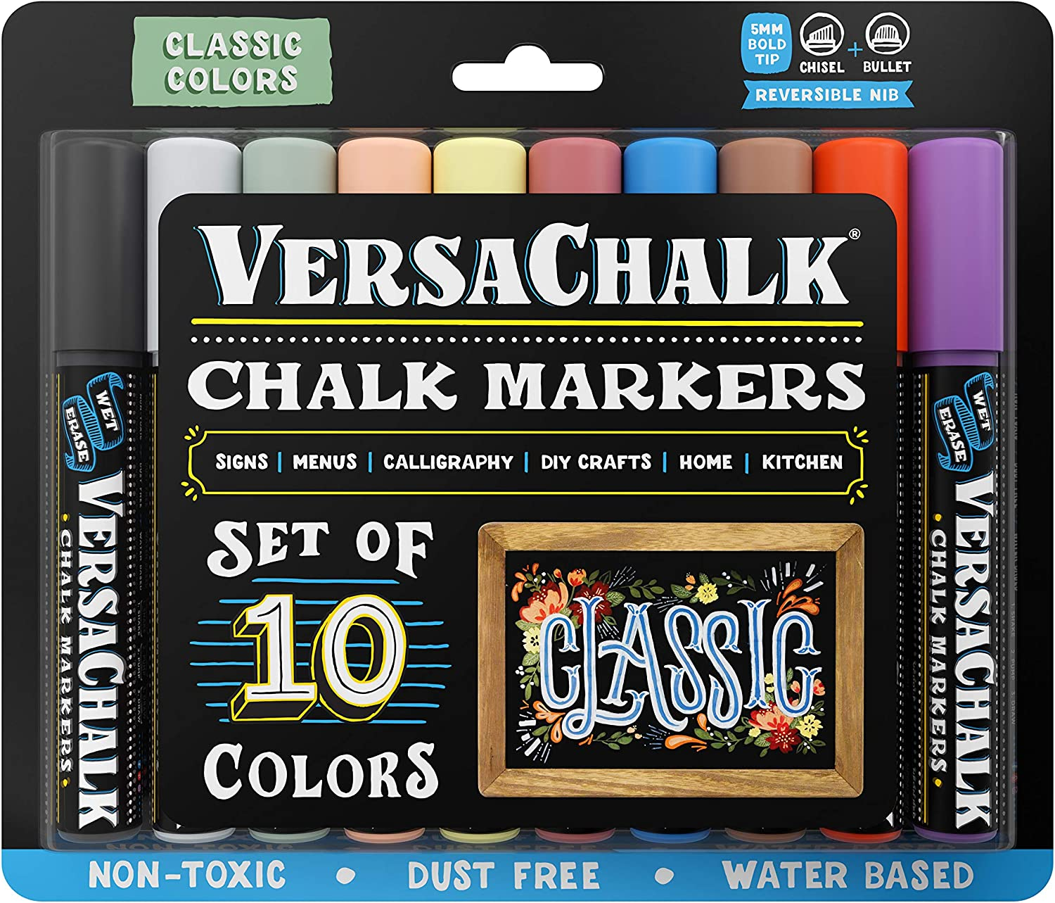 VersaChalk Classic Liquid Chalk Markers for Blackboards (10 Pack, 5mm, Bold Tip) - Erasable Washable Chalk Pens for Chalkboard Signs, Windows, Glass, Events, Schools, Office Supplies, and Business