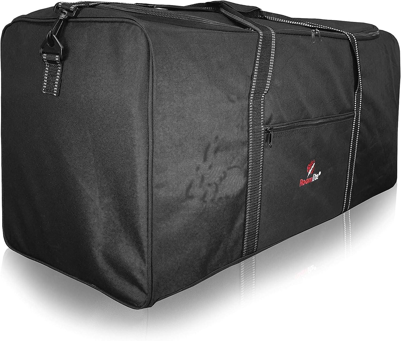 Bolsa de Viaje Extra Muy Grande Roamlite XL - Bolsa de Lona XXL para Equipaje Negro de 110 litros - 1 Bolsa Enorme - Plegable Plana para Almacenamiento, Viaje o Lavandería - 86cm x36 x36 0.9kg R34