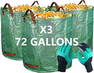 3 Pack of 72 Gallon Bags and Free Pair of Claw Gloves. Perfect for Lawn, Garden, Leaf / Leaves, Yard Debris / Waste, Storage and Pool Accessories - Reinforced Bottom