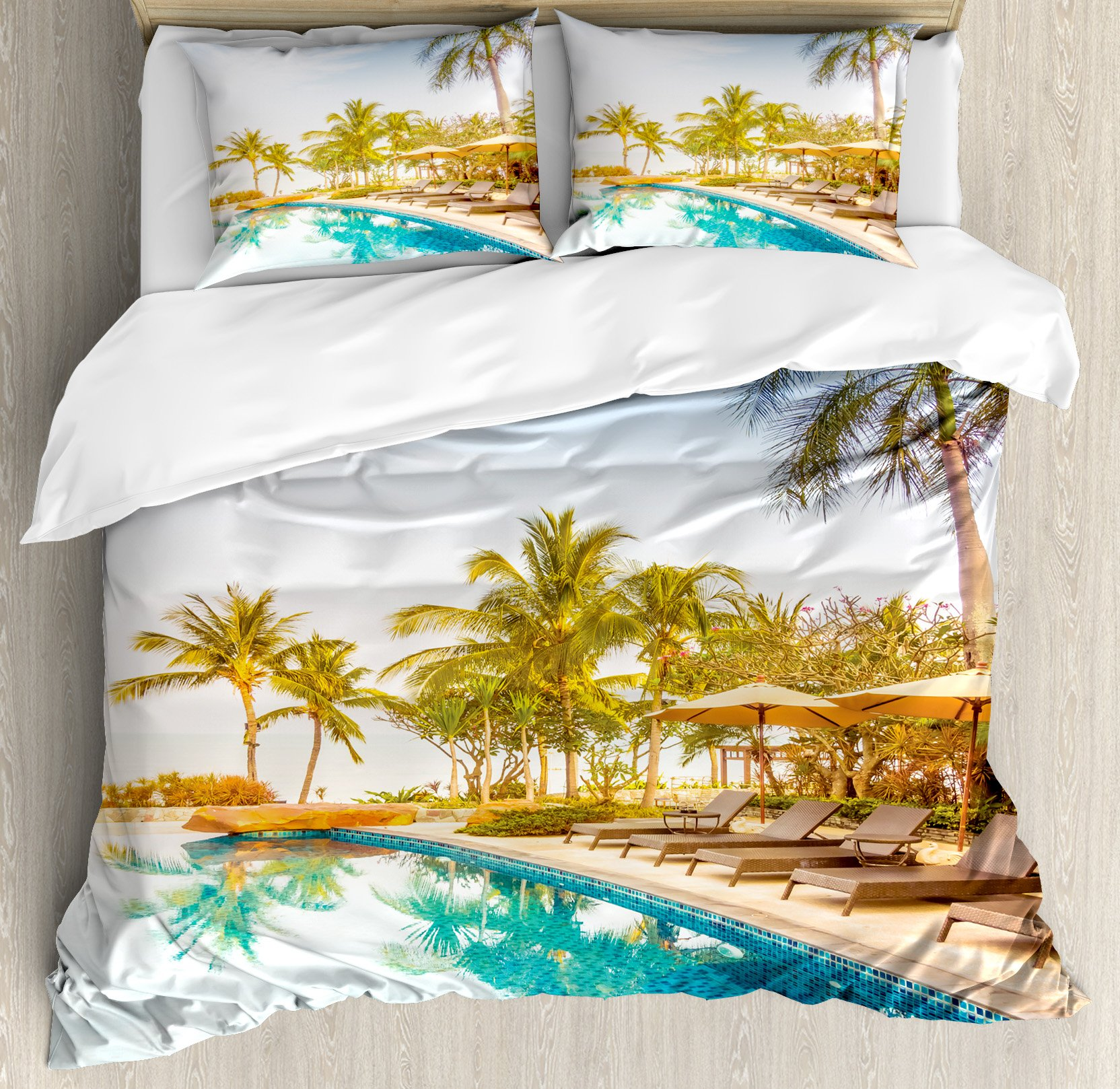 House Decor Duvet Cover Set by Ambesonne, Aerial View of A Pool in A Health Resort Spa Hotel with Exotic Elements Sports Modern Photo, 3 Piece Bedding Set with Pillow Shams, King Size, Multi