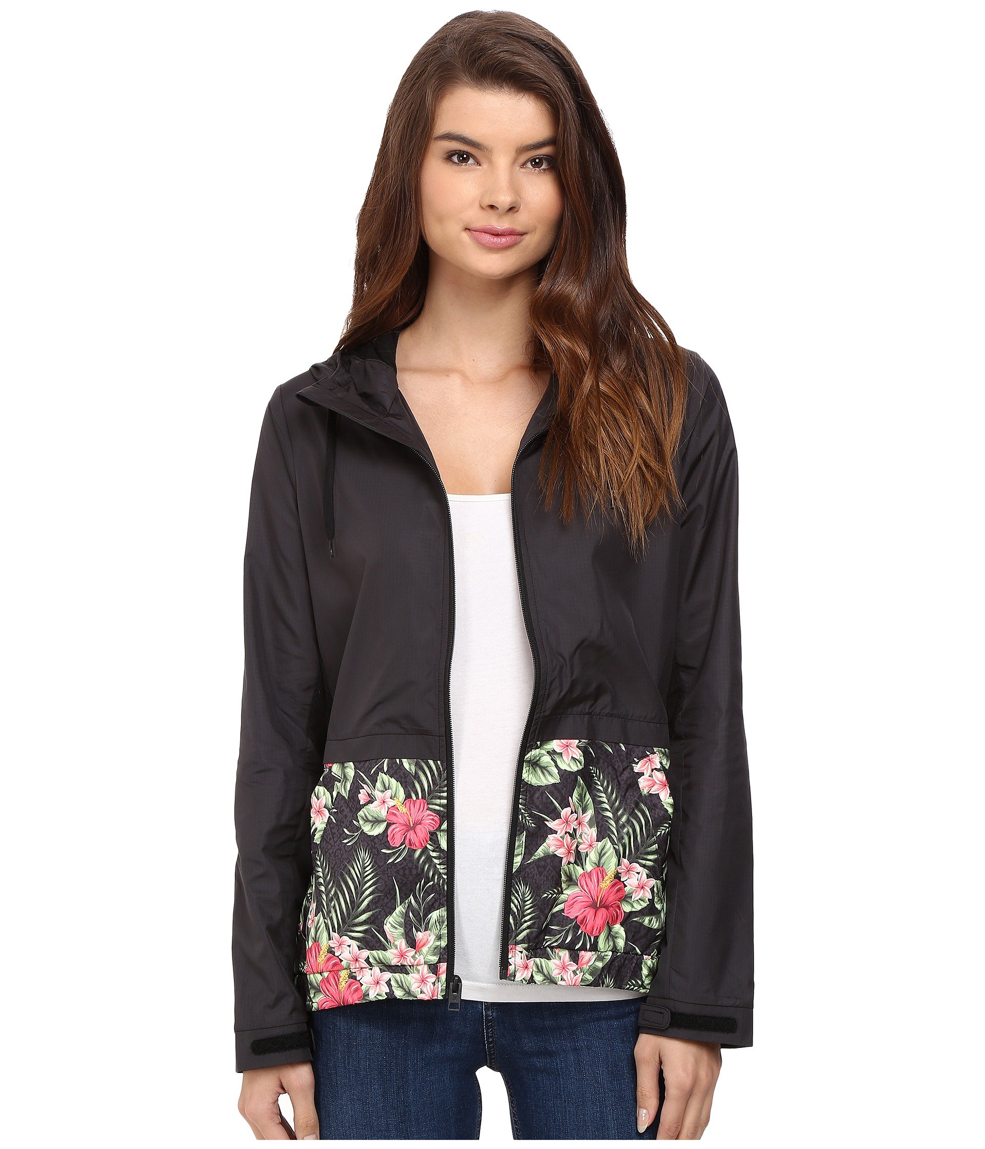 Hurley Women's Blocked Runner Jacket Black Floral Jacket MD (US 7-9)