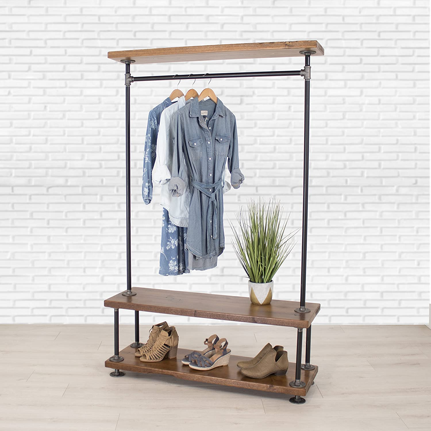 Amazoncom Industrial Pipe Clothing Rack With Cedar Wood Shelving By