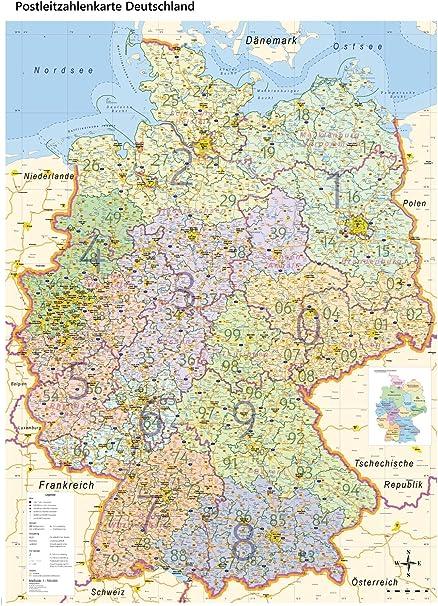 XL Postleitzahlenkarte Alemania con laminación, DIN B0, 100 x 140 cm, edición 2019: Amazon.es: Oficina y papelería