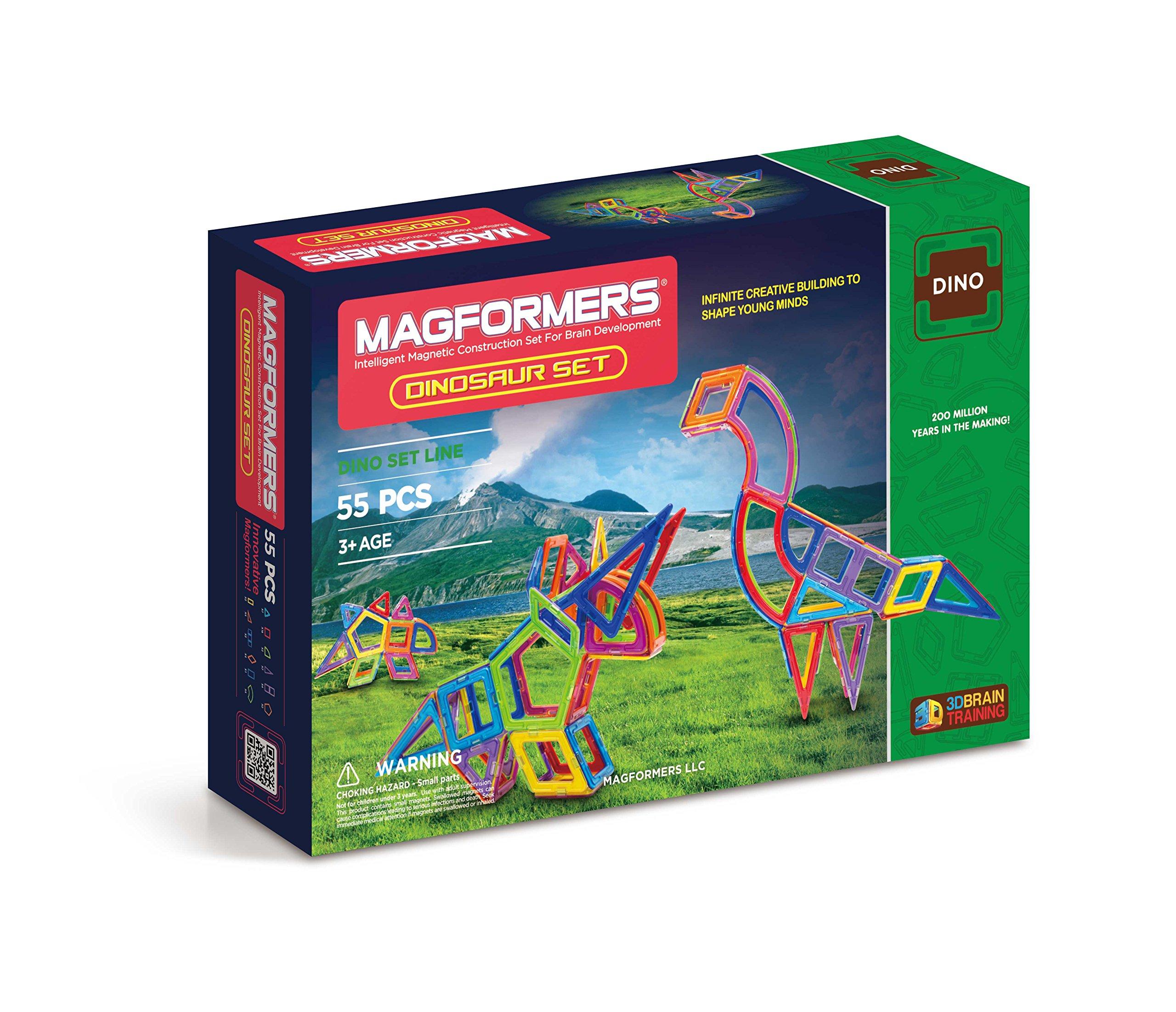 Magformers Dinosaur Set (55-pieces) Magnetic Building Blocks, Educational Magnetic Tiles Kit , Magnetic Construction STEM Toy Set