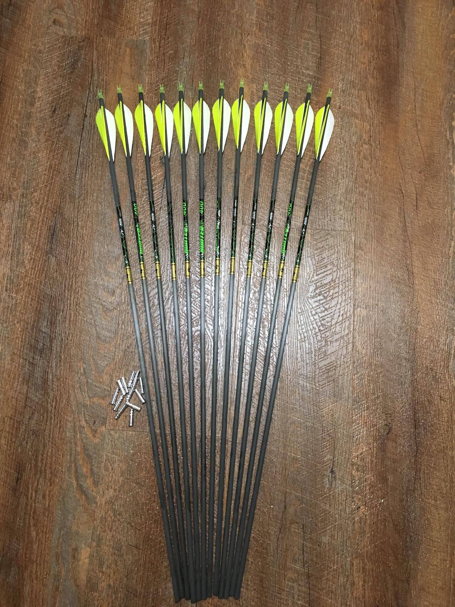 Gold Tip XT Hunter 340 Arrows With Parabolic Feathers Custom Made Set of 12