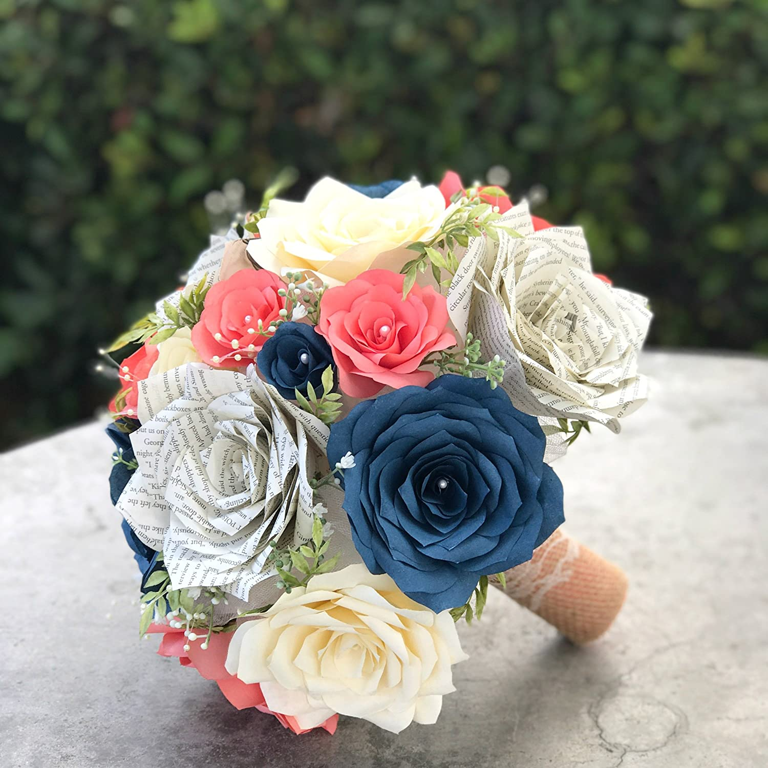 Amazon Com Wedding Bouquet In Coral Navy Blue Ivory Paper