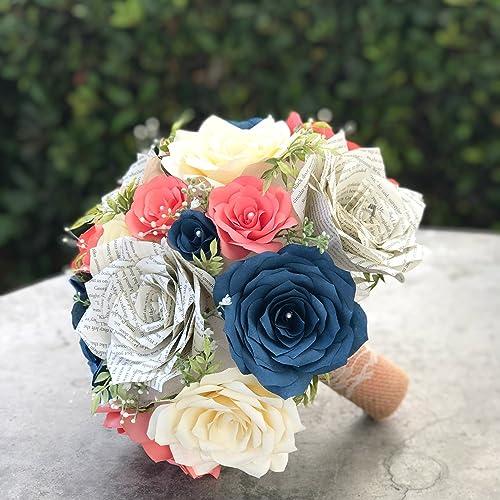 Amazon Com Wedding Bouquets Bridal Silk Flowers Coral Ivory Calla