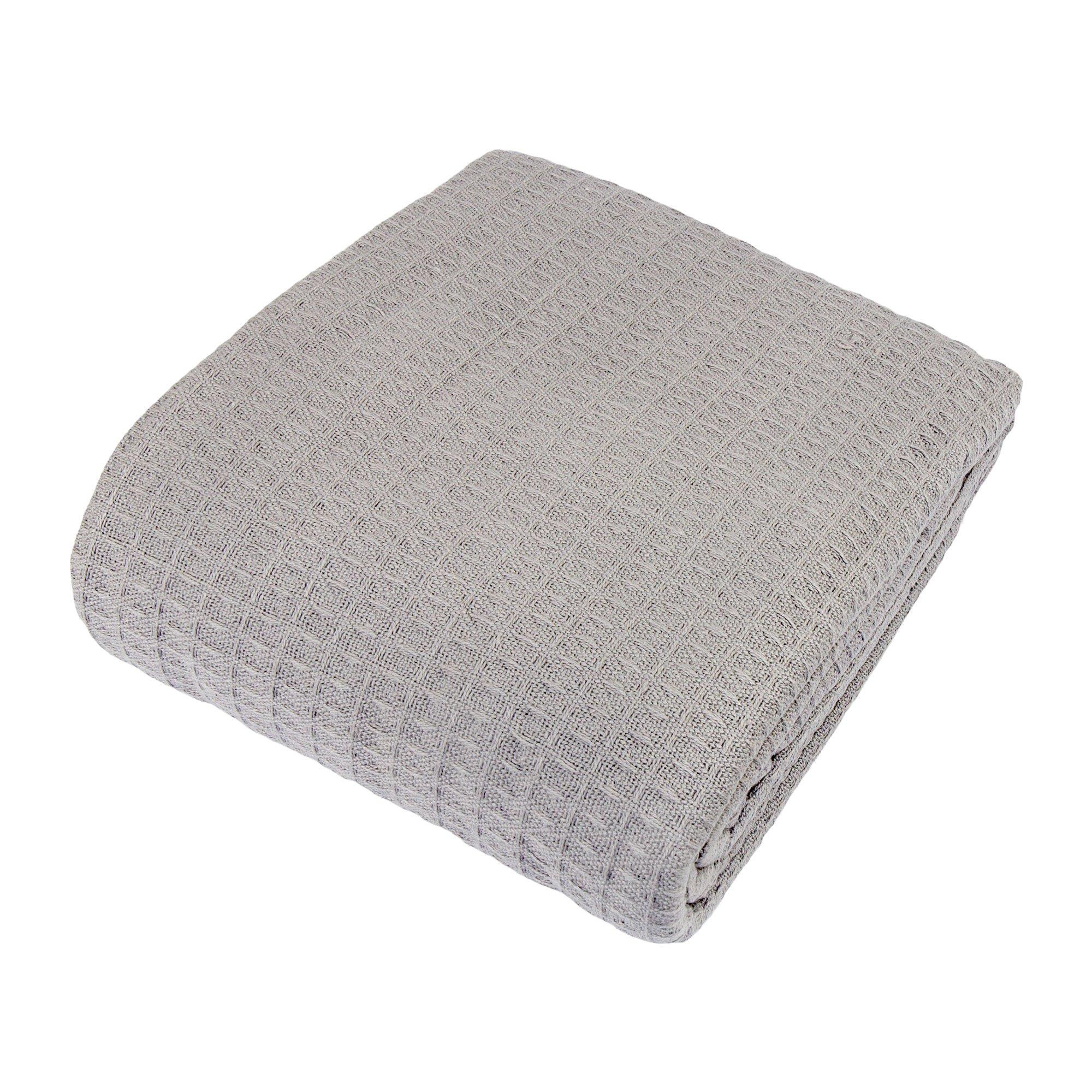 Cozy Bed - Santa Barbara Waffle Weave Cotton Blanket, King, Gray