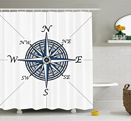 Ambesonne Compass Shower Curtain Sea Color Themed Voyage Windrose Discovery Marine Design Work Of Art