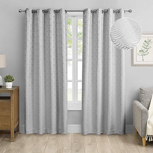 MODERNOVIA Silver Gray 52×108 inch Jacquard Blackout Curtain Grommet Pattern Drape