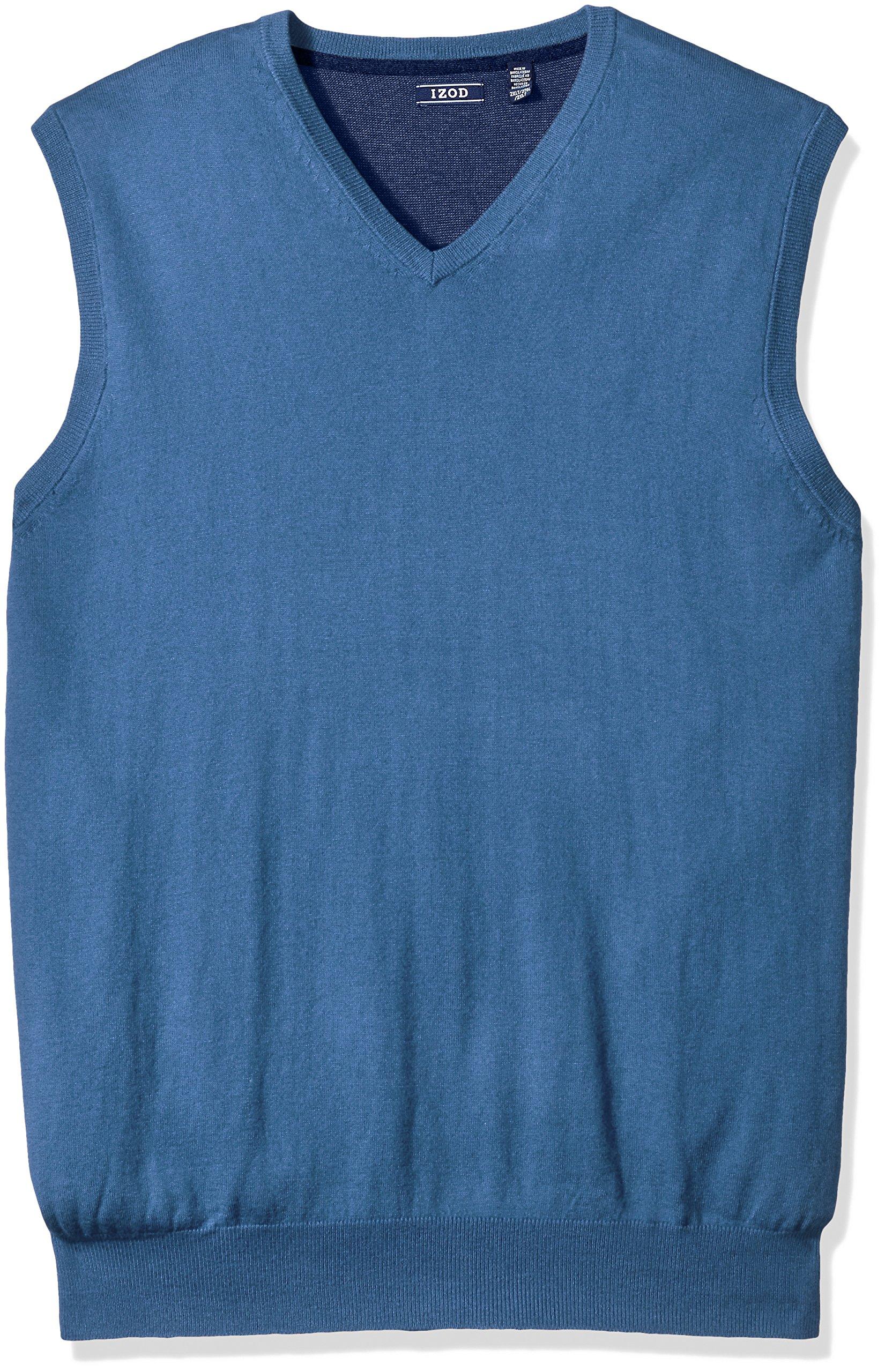 IZOD Men's Big Fine Gauge Solid Sweater Vest, Federal Blue Heather, Large Tall