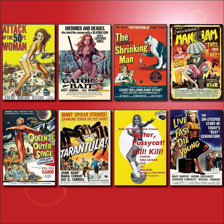 Set of 8 large fridge magnets No.2 Classic B Movie Film Poster Fridge Magnets