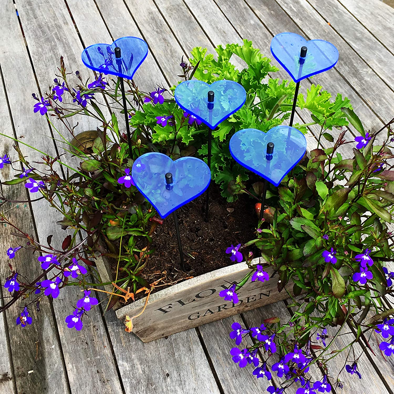 Suncatcher Decorative Garden Stakes Hearts | 5X Small Garden Ornaments | Outdoor Garden Décor Accessory | Gift, Colour:Blue