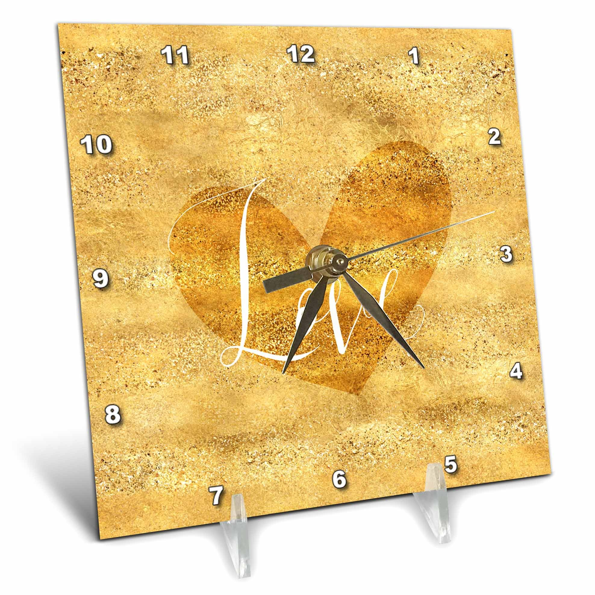 3dRose PS Inspiration - Image of Gold Glam Glitz Heart Love - 6x6 Desk Clock (dc_280716_1)