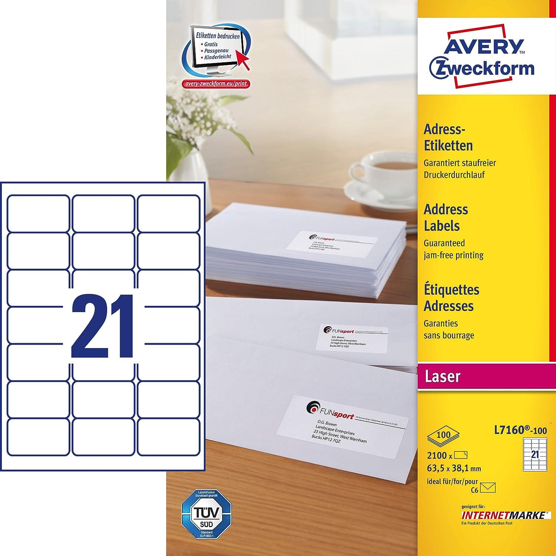 Avery Zweckform L7160-100 Adress-Etiketten (A4, 2.100 Stück, 63,5 x ...