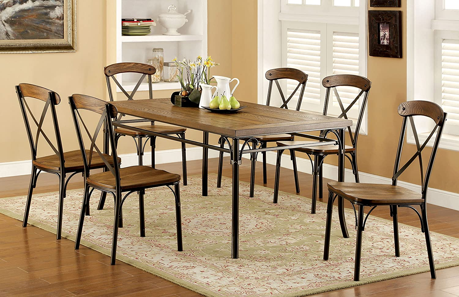Amazon.com - Furniture of America Rizal Industrial Style Dining ...