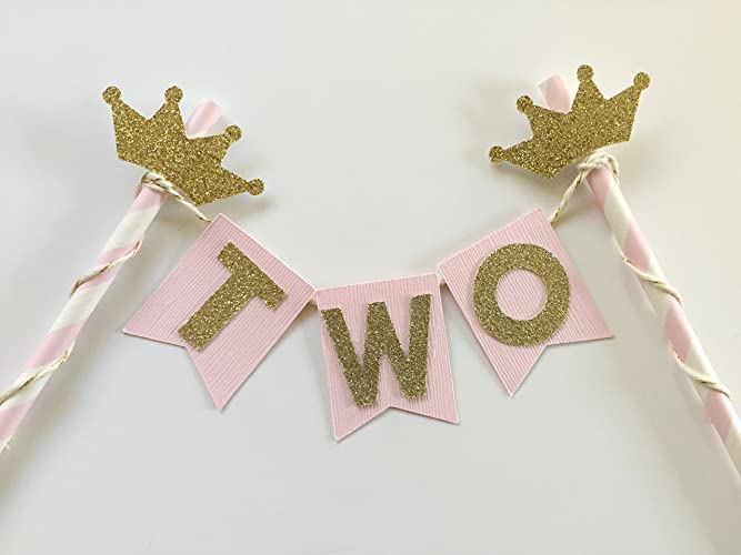 Amazon Pink And Gold Tiara Cake Topper For 2nd Birthday