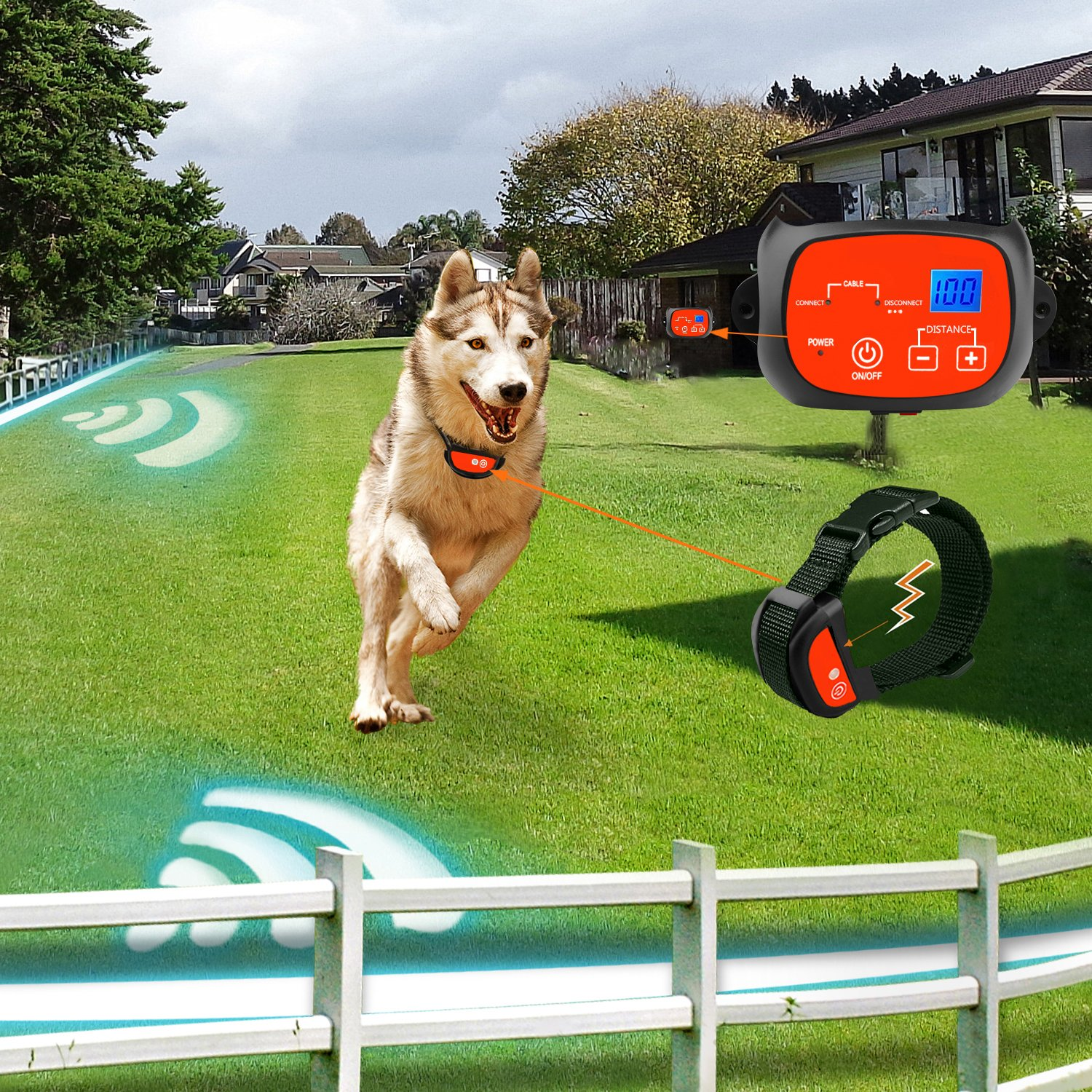 2 Dog Electric Fence with Rechargeable & Rainproof Collar, Hidden Dog Containment System with Wire-DTY2