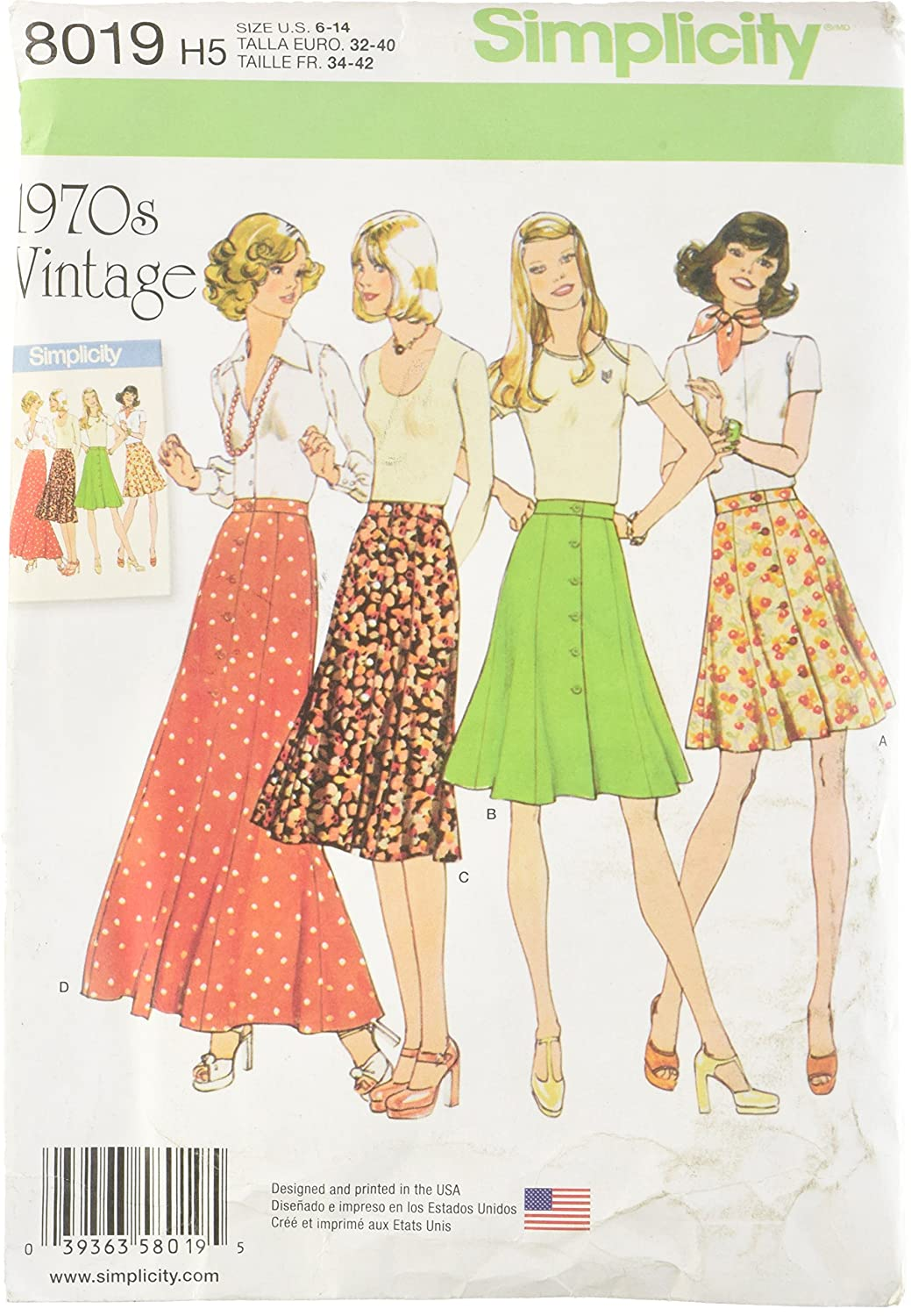 Simplicity Creative Patterns US8019H5 Misses' Vintage 1970's Skirts, Size: H5 (6-8-10-12-14) OUTLOOK GROUP CORP