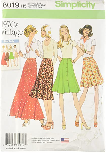 0953f8dbd816 Simplicity Creative Patterns US8019H5 Misses' Vintage 1970's Skirts, Size:  H5 (6-8-10-12-14)
