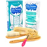Wooden Baby Hair Brush and Comb Set with Natural Soft Goat Bristles for Newborns and Toddlers, Best for Cradle Cap, Suitable for Boys and Girls Baby Shower Gift and Baby Registry by Baby2gether