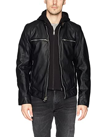 da2eea6da494 GUESS Men s Faux Leather Hooded Moto Jacket at Amazon Men s Clothing ...