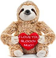 Light Autumn Valentines Day Stuffed Animals for Kids - Sloth Valentine for Girlfriends
