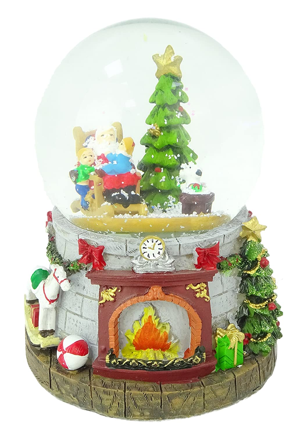 Christmas Concepts® 14cm Musical Christmas Resin Decoration With Santa & Dog Water Globe + Colour Changing LED Lights