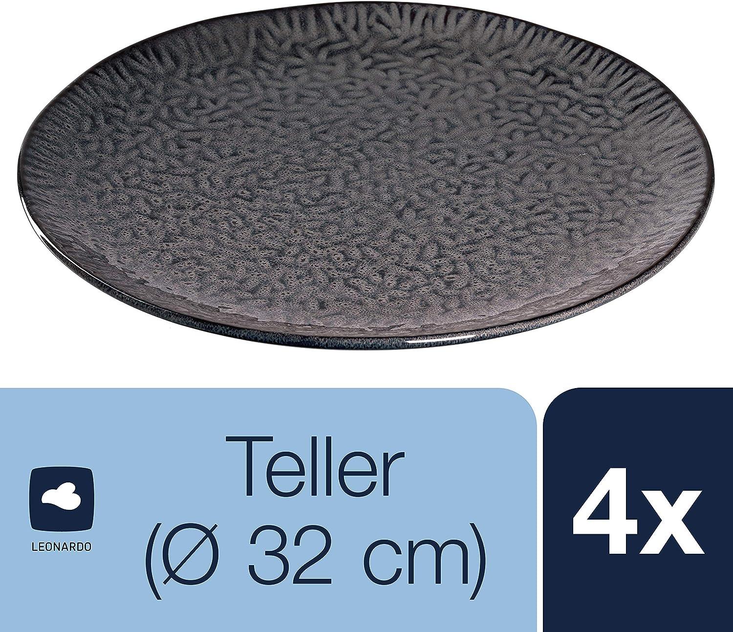 018605 Pizza-Teller mit Glasur Leonardo Matera Keramik-Teller 4-er Set sp/ülmaschinengeeignete Platzteller 4 runde Steingut-Teller /Ø 32 cm grau
