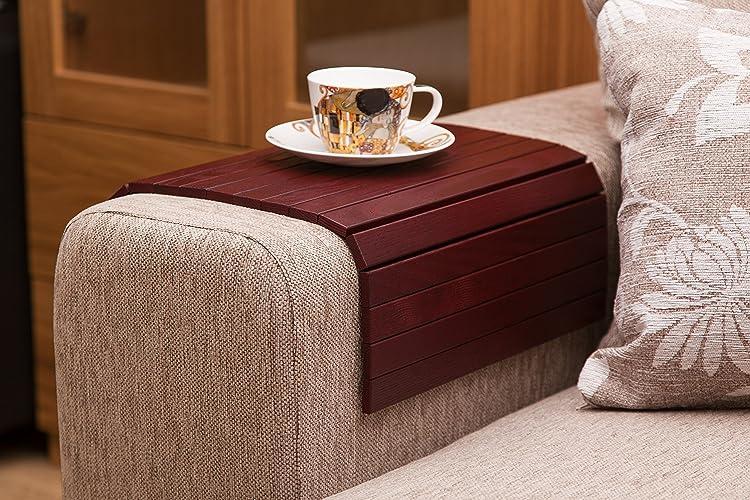 Amazon.com: Wine Red Sofa Side Tray Table - Wood Armrest ...