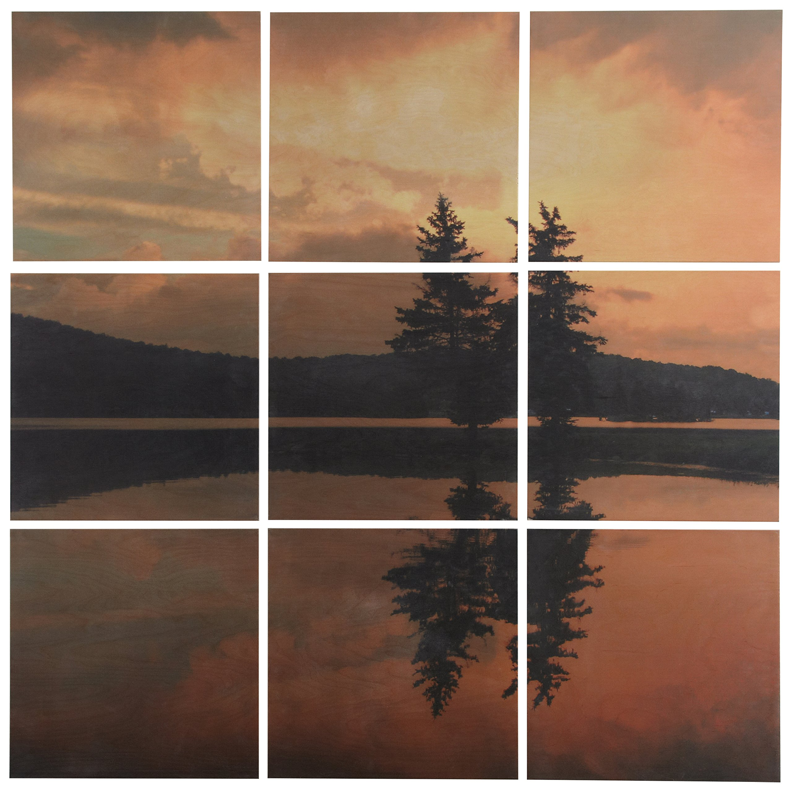 Modern 9-Piece Photo Mural of Lakeside Sunset on Wood, 36'' x 36'' by Stone & Beam
