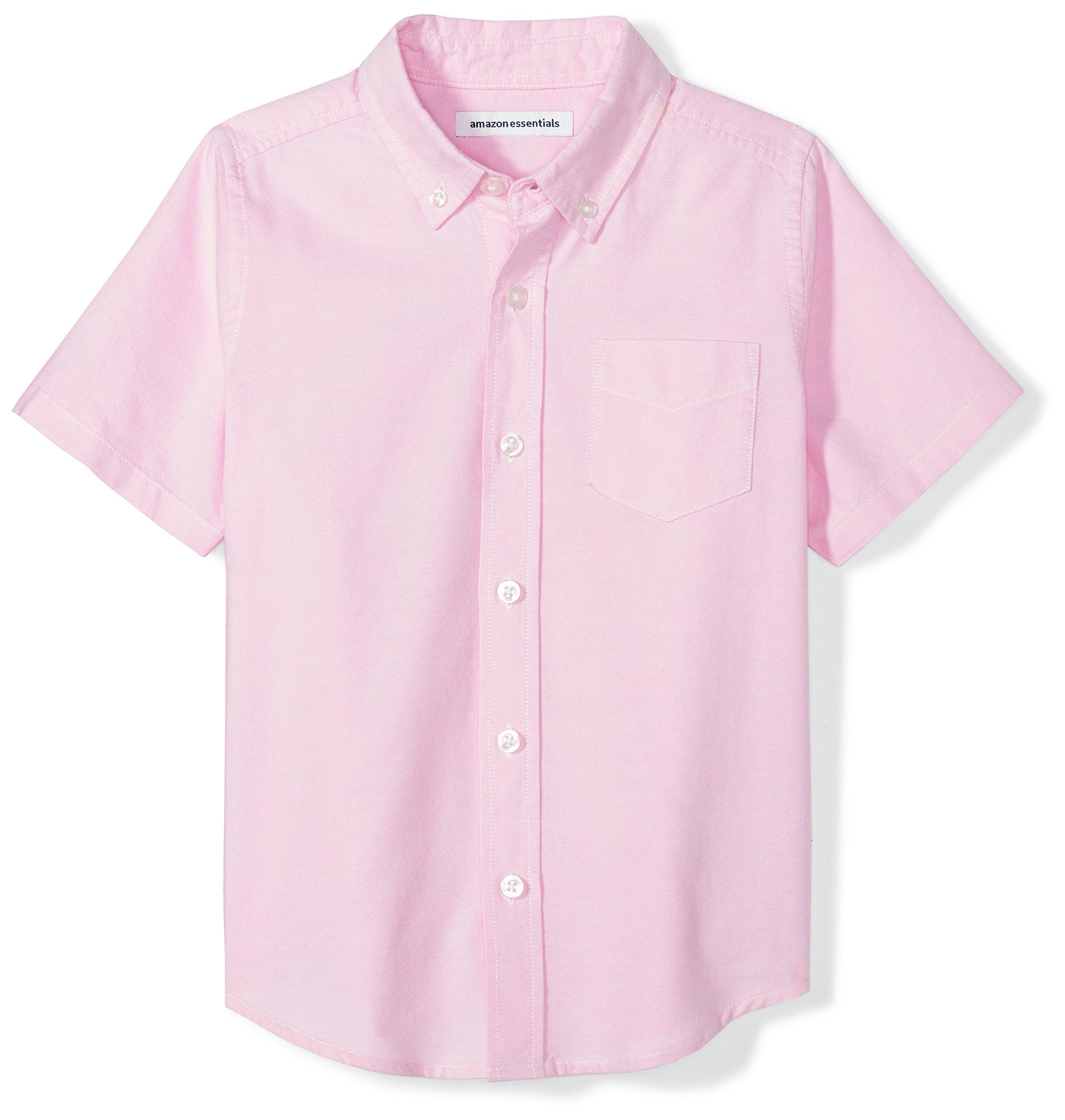Amazon Essentials Boys' Short-Sleeve Uniform Oxford Shirt, Pink, XS (4-5)