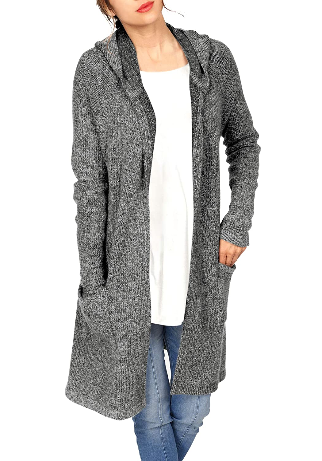 H HIAMIGOS Women's Casual Long Sleeved Thick Open Front Sweater Cardigans Pocket