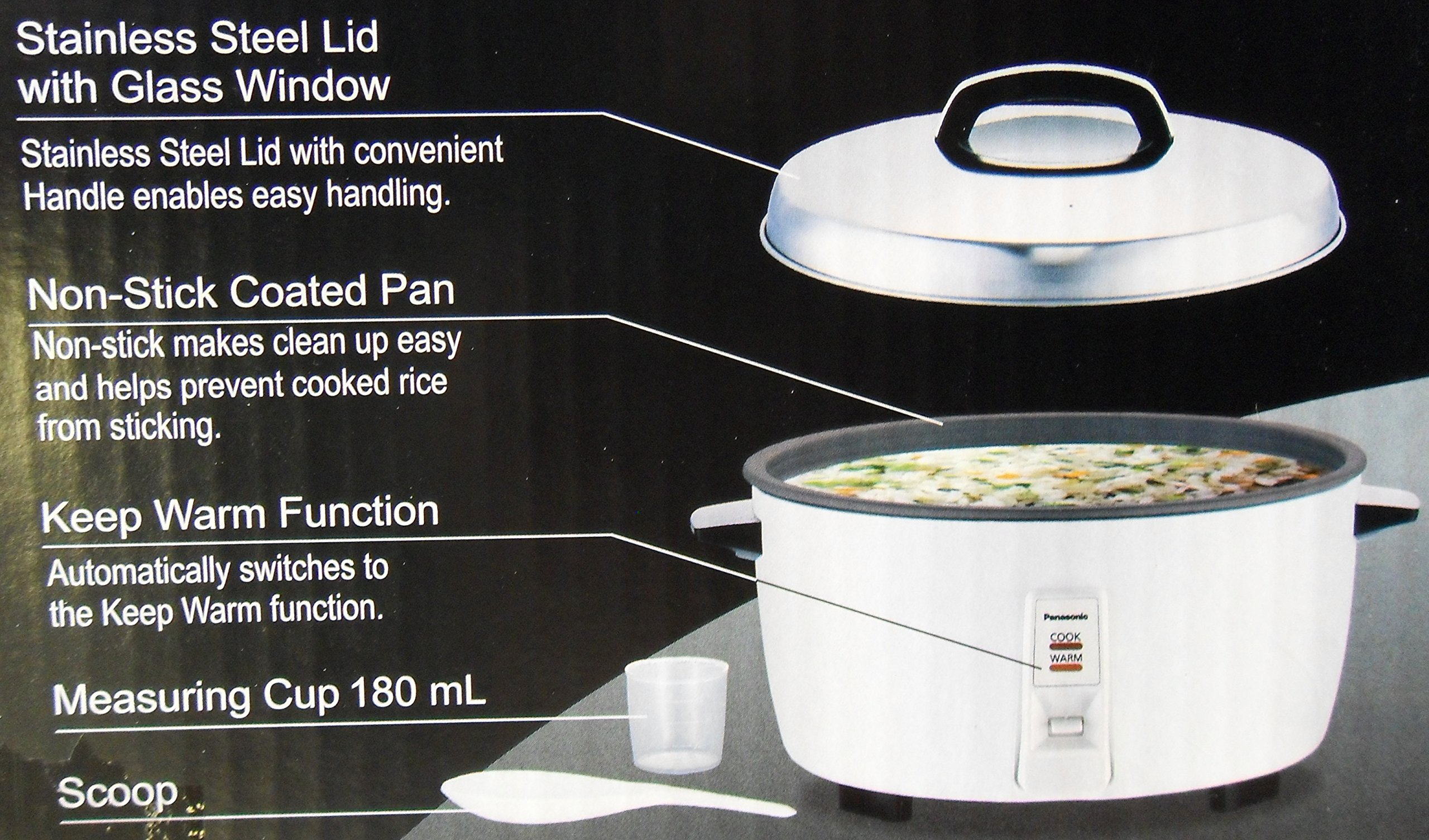 Panasonic SR-GA321FH 17 Cup Commercial Automatic Rice Cooker with Non-Stick Pan, White