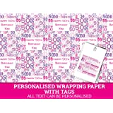 Pink Happy 50th Birthday Personalised Wrapping Paper Baby