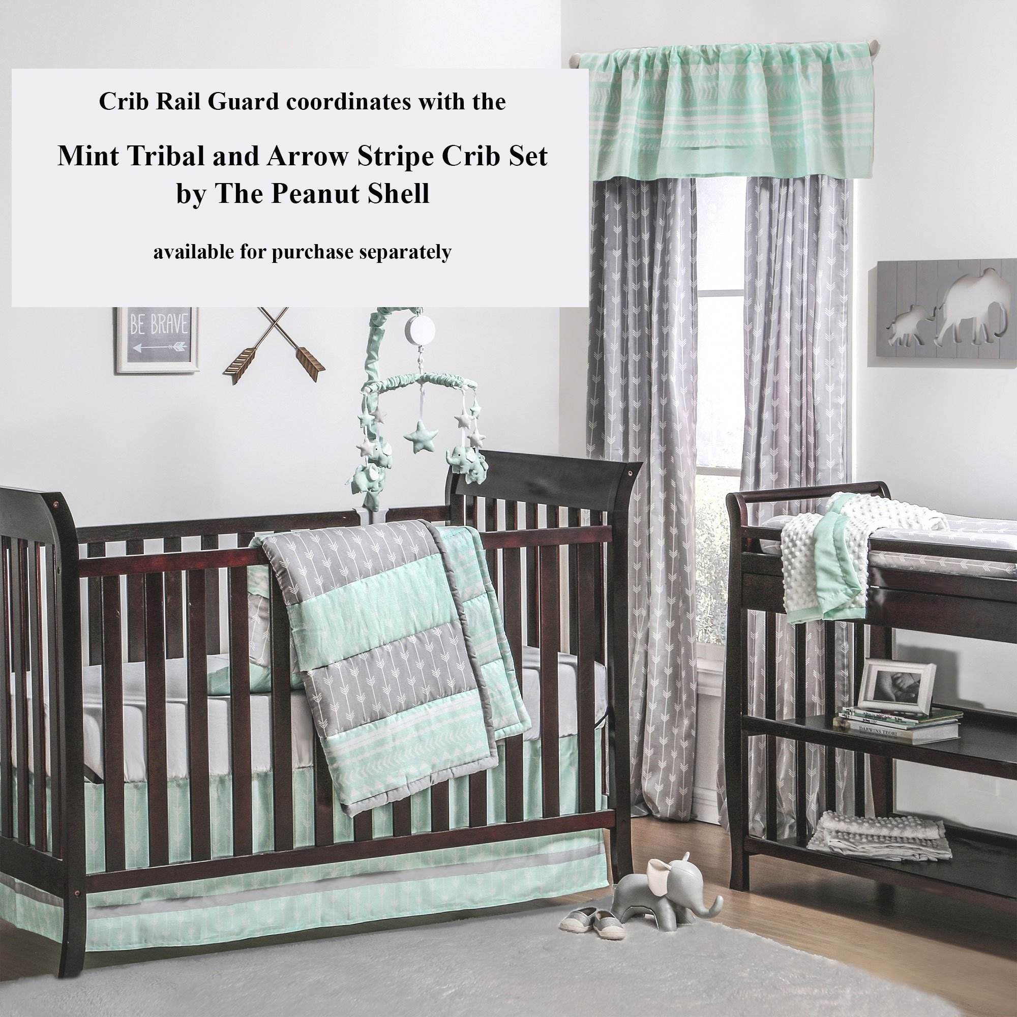 Mint Green Tribal Print 100% Cotton Padded Crib Rail Guard by The Peanut Shell by The Peanut Shell (Image #3)