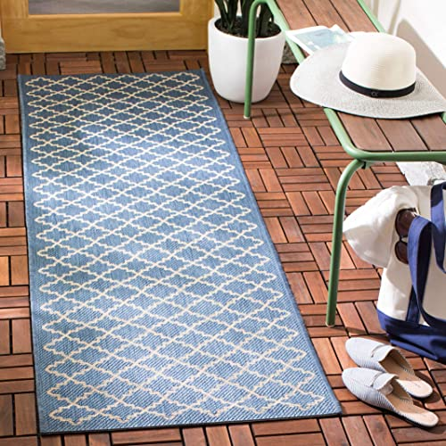 Safavieh Courtyard Collection CY6919-243 Blue and Beige Indoor Outdoor Area Rug 2 x 3 7