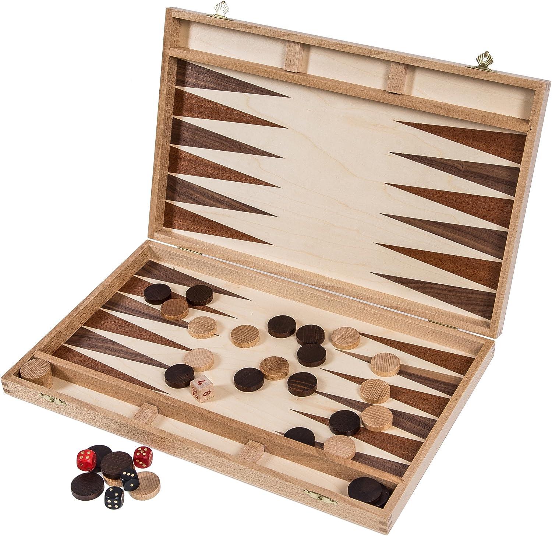 Square - Backgammon de Madera - 40 cm - Haya - Incrustación: Amazon.es: Juguetes y juegos