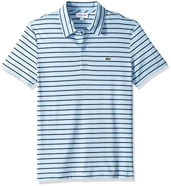 f7d9674b3653 Lacoste Men s S S Oima Interlock Regular Fit Striped Neckline at ...