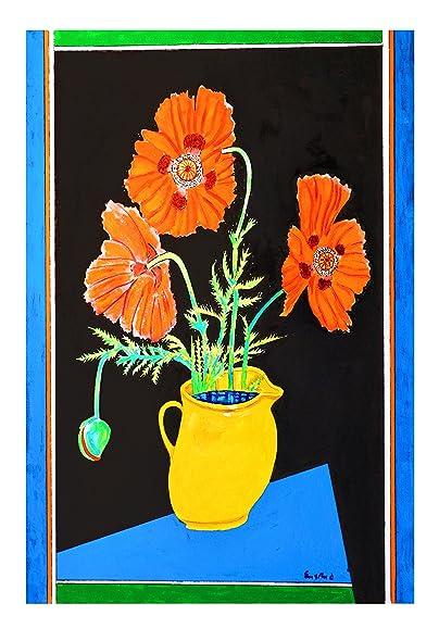 Amazon Poppies In A Yellow Vase Wayne Ensrud Fine Art