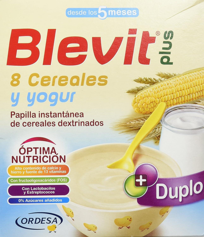 Blevit Plus Duplo 8 Cereales y Yogur, 1 unidad 600 gr. A partir de los 5 meses: Amazon.es: Alimentación y bebidas