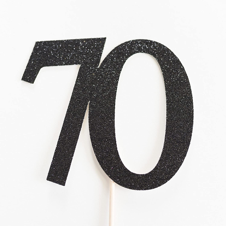 Black Glitter 70 Cake Topper, 70th Anniversary, seventieth Birthday, seventy
