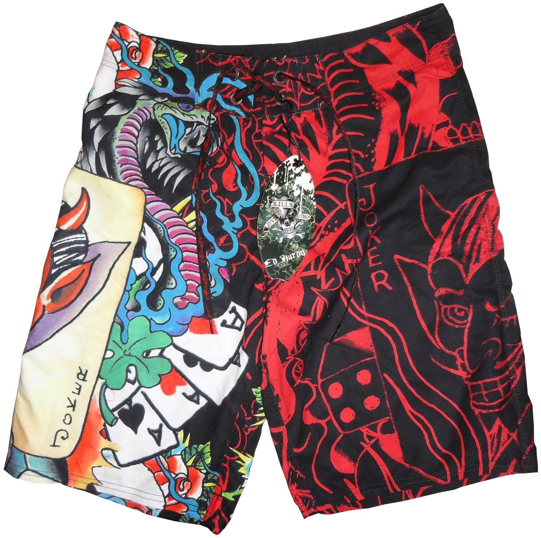 10662ebef0 Men's Ed Hardy Swim Trunks Board Shorts Joker Red (32W)   Amazon.com