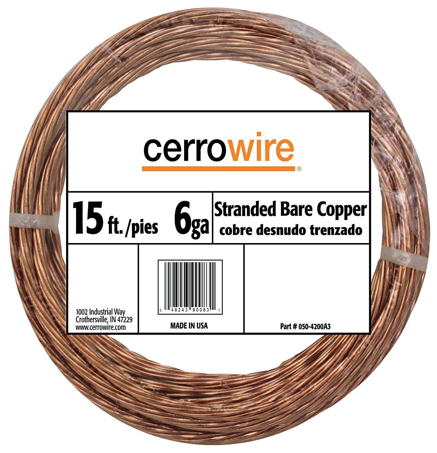 CERRO 050-2400A Feet 4-Gauge Bare Solid Copper Wire, 25-Foot ...