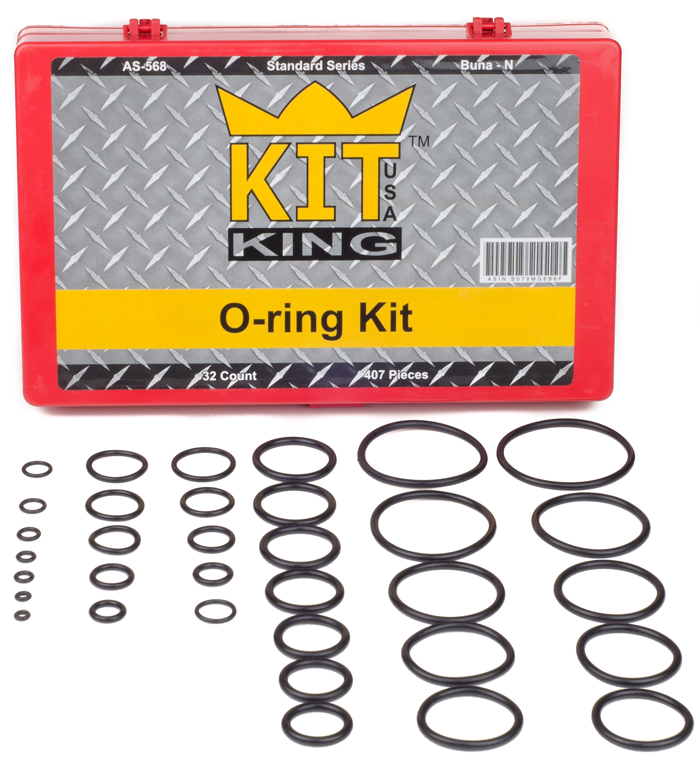 O Ring Kit Assortment Set, Assorted Buna-N, 70A Durometer, 407 Pieces, 32 O-Ring Sizes, SAE, Orings Pack