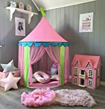 Play Tent for Girls Princess Castle Indoor & Outdoor Use, Pink Sheer, by Huhu Cat